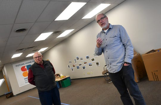 Greg Reigstad, treasurer for the Great River Children's Museum board, and Glen Palm, board chair, tour areas of the facility during an interview Wednesday, Dec. 18, 2019, in St. Cloud.