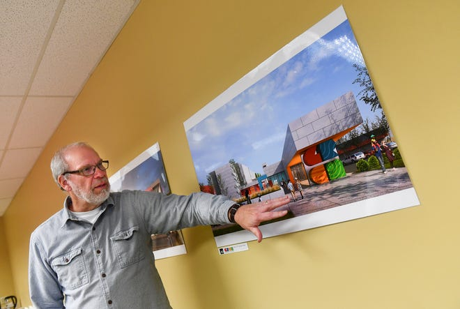 Glen Palm, Great River Children's Museum board president, talks about conceptual drawings for the facility during an interview Wednesday, Dec. 18, 2019, in St. Cloud.