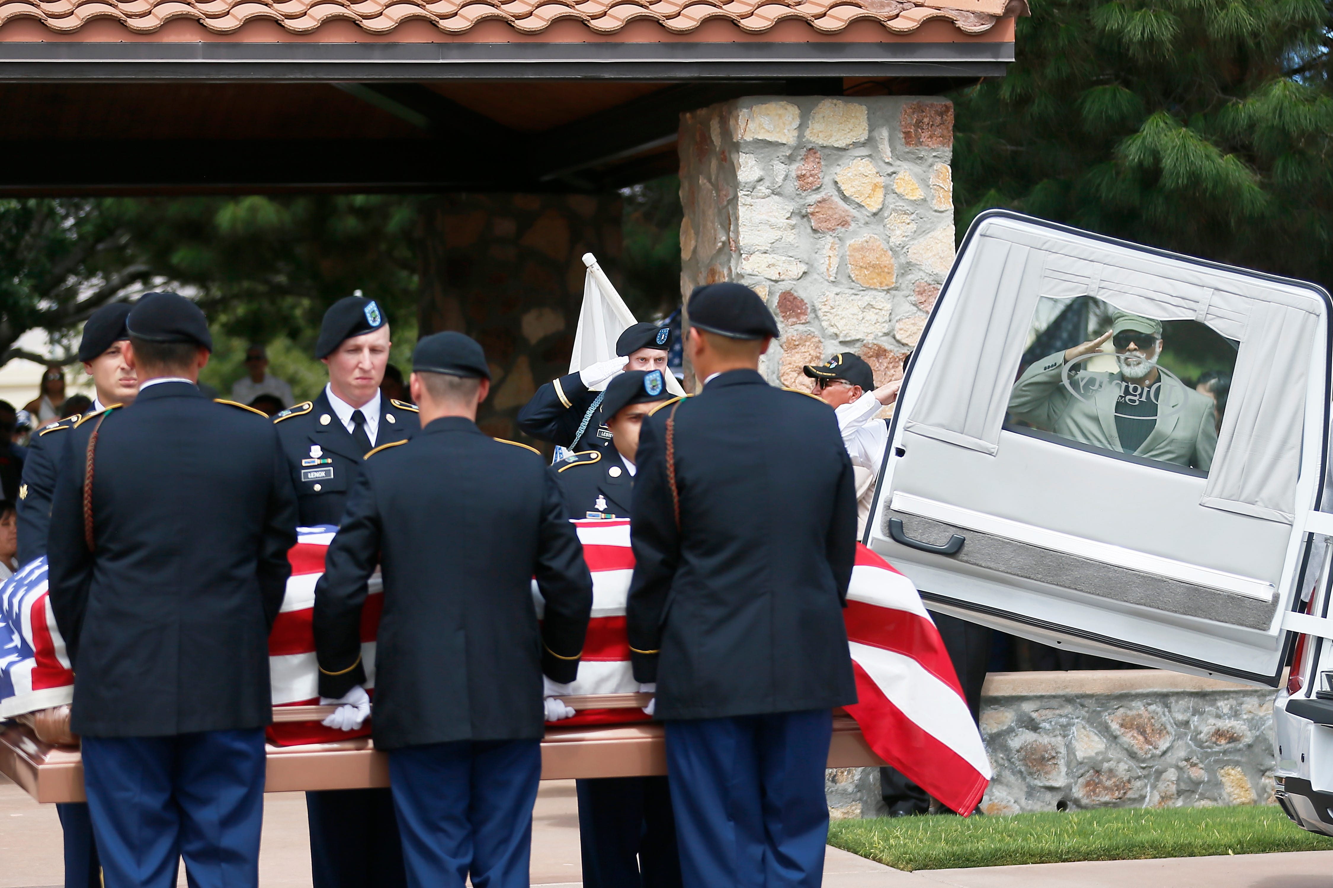 Family and friends of Arturo Benavides gather Tuesday, Aug. 13, to pay their respects at Fort Bliss National Cemetery. Benavides was a decorated U.S. Army Veteran.