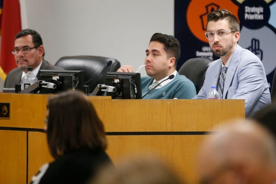 District 7 trustee Daniel Call, far right, during the EPISD School Board meeting Tuesday, Dec. 17, at the EPISD Boeing Education Center in El Paso.