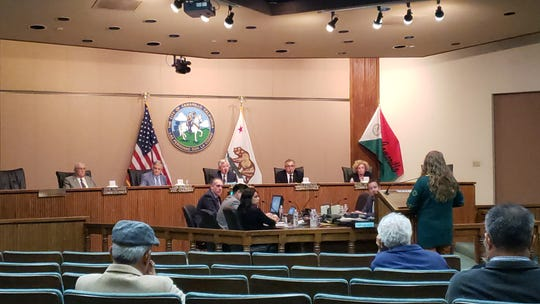 Julieanne Seeley (standing far right) gives public testimony during a hearing on the cultivation of industrial hemp by the Camarillo Planning Commission on Tuesday. The commission unanimously approved an ordinance banning hemp cultivation within city limits.