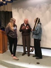 Tim Kiniry, a World War II veteran, recently shared his experiences with students at Millville High School.