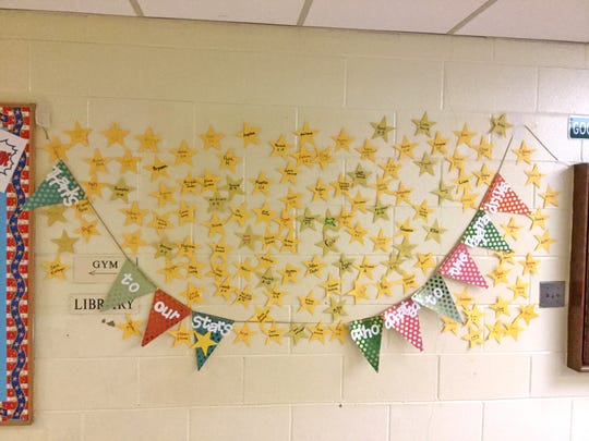 Donors to the third grade's Great Bedtime Story Pajama Drive atD'Ippolito Elmentary School in Vineland were recognized with stars in a display at the school.