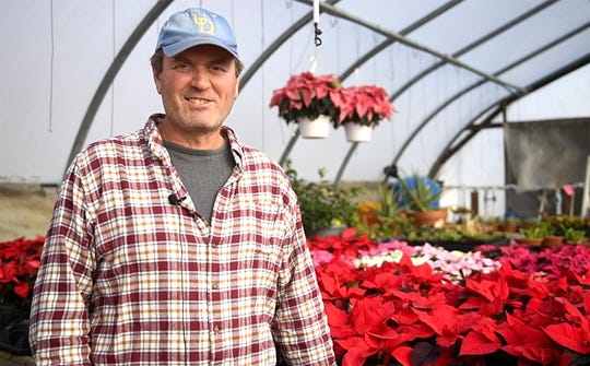 Tim Huffman of Huffman Farms talks about keeping poinsettia plants happy. His farm produces over 7,000 plants just in time for Christmas at 296 S. Blue Bell Road in Vineland.