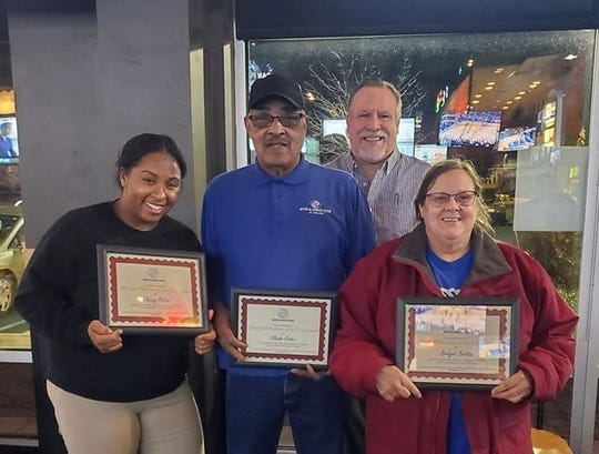 (Front row, from left) Jaquay Patton, Youth for Change Center; Claude Rozier, Carl Arthur Center; and Bridget Britton, Commercial Township, were recognized as Staff Members of the Year by the Boys & Girls Clubs of Cumberland County.Chris Volker (back row), club director, presented the awards.
