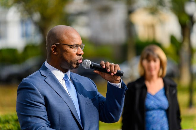 Jamaal Bowman, who's running against Rep. Eliot Engel in a Democratic Party primary, pictured at an endorsement event with Zephyr Teachout in Mount Vernon.