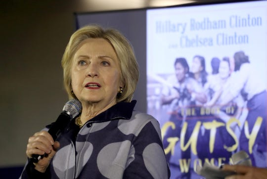 Hillary Clinton speaks while she and daughter Chelsea were being interviewed by actress and singer Vanessa Williams at Pace University in Pleasantville Dec 18, 2019. The event was held to promote the book ÒThe Book of Gutsy WomenÓ that Hillary and Chelsea Clinton have just published.