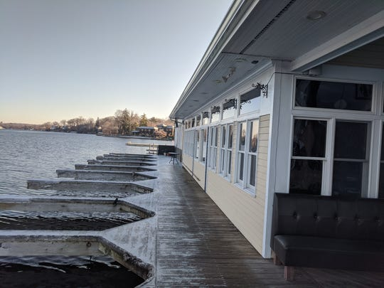 Ice formed on the dock at Blu restaurant on Dec. 18, 2019