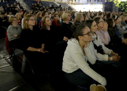 "Members of the audience listen as actress and singer Vanessa Williams interviews Hillary and Chelsea Clinton at Pace University in Pleasantville Dec 18, 2019. The event was held to promote the book ""The Book of Gutsy Women"" that Hillary and Chelsea Clinton have just published."
