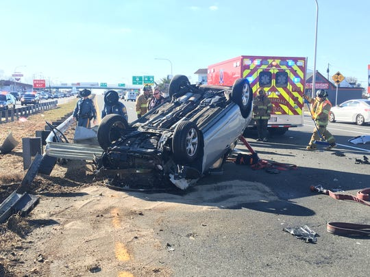 Two south lanes of U.S. 13 in Wilmington Manor are closed after a rollover crash, according to Delaware State Police.