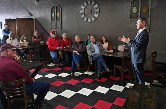 Ronny Jackson introduces himself to members of the community at a restaurant in Bowie Thursday during a campaign stop. Jackson is running for U.S. Rep. Mac Thornberry's seat in Congress.