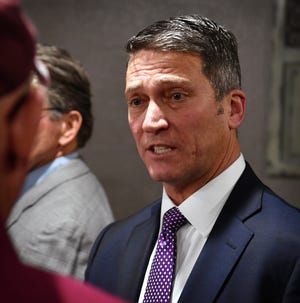 Former White House physician Ronny Jackson answers questions from the public during a campaign stop in Bowie as shown this Thursday, Dec. 19, 2019, Times Record News file photo. Jackson is running for the 13th District Congressional seat.