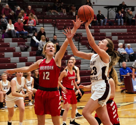 Sheridan's Gabby Carpico defends a shot from John Glenn's Lyndi Slack in the Generals' 56-38 win on Wednesday.
