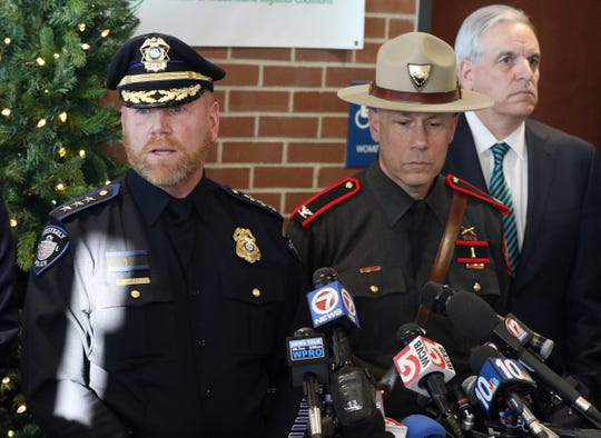 Westerly Chief of Police Shawn Lacey addresses the media about a shooting in Westerly on Dec. 19, 2019. To his left is Col. James M. Manni, superintendent of the Rhode Island State Police.