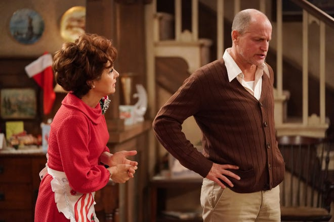 Marisa Tomei, left, as Edith Bunker, again stole the show in ABC's 'Live in Front of a Studio Audience,' while Woody Harrelson sharpened his depiction of her 'All in the Family' husband, Archie.