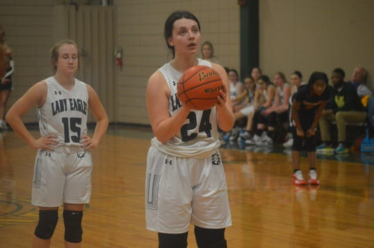 Menard's Abby Daigle (24) attempts a free throw against Northwood Thursday.