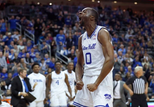 Seton Hall Pirates guard Quincy McKnight (0) reacts after scoring against the Maryland Terrapins
