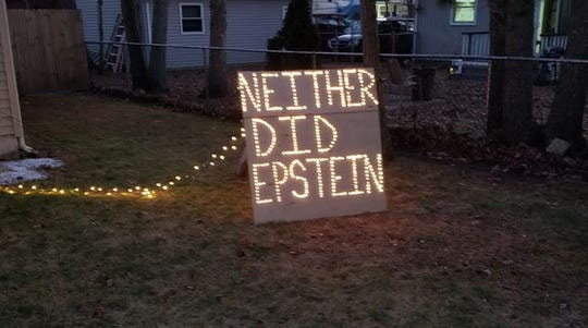 A Lacey man included this message in his Christmas display.