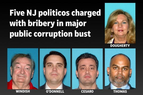 Five charged in public corruption bust