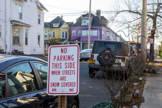 View of tight street parking along Benson Avenue in Ocean Grove, NJ Friday, December 20, 2019.