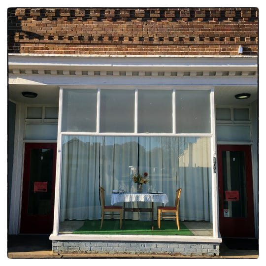 A window display in the downtown area of Aulander in Bertie County.