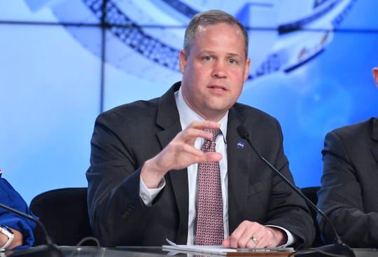NASA Administrator Jim Bridenstine answers questions about Friday's launch of Starliner at a post launch press conference. The vehicle failed to achieve proper orbit after launch from Cape Canaveral Air Force Station. Mandatory Credit: Craig Bailey/FLORIDA TODAY via USA TODAY NETWORK