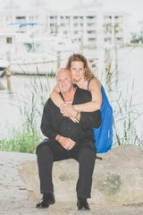 An engagement photo of Debi Markoe and her late fiance, Tim Kendrick, taken in downtown Melbourne.
