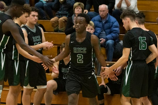 Rice's Michel Ndayishimiye (2) takes the court during the boys basketball game between the Rice Green Knights and the Burlington Seahorses and Burlington High School on Thursday night December 19, 2019 in Burlington, Vermont.