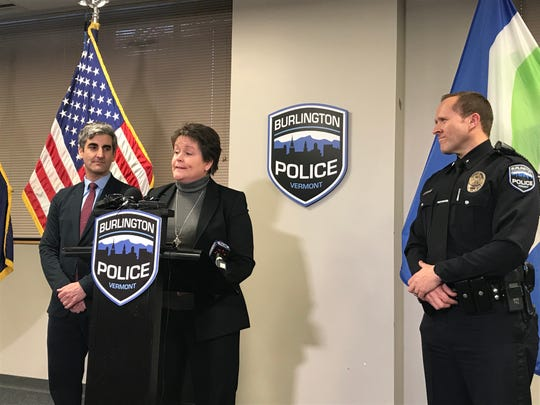 Former Colchester police chief Jennifer Morrison speaks at a Friday press conference. Morrison will be interim police chief of the Burlington Police Department starting on Jan. 7, 2020.