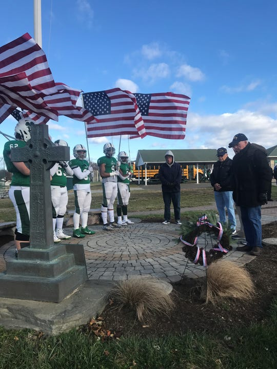 A Celtic Cross memorial at Camden Catholic HIgh School's football field in Cherry HIll honors Medal of Honor soldier Francis  X. McGraw and other alumni veterans.