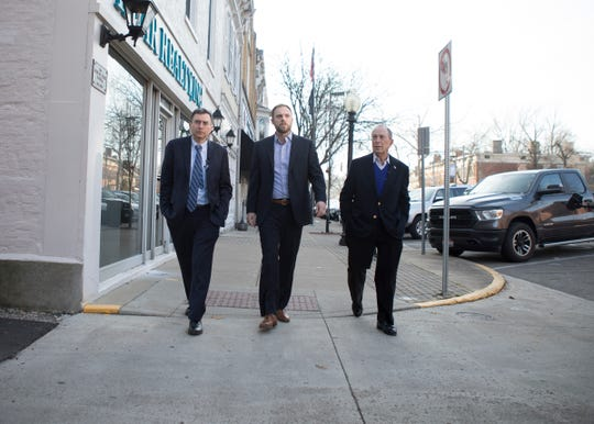 Former New York City mayor and Democratic presidential candidate Michael Bloomberg walked through the streets of Chillicothe with Mayor Luke Feeney and Dr. Josh Sharfstein on their way to a roundtable discussion with local community member about the opioid epidemic in Chillicothe and Southeast Ohio, on Dec. 20, 2019.