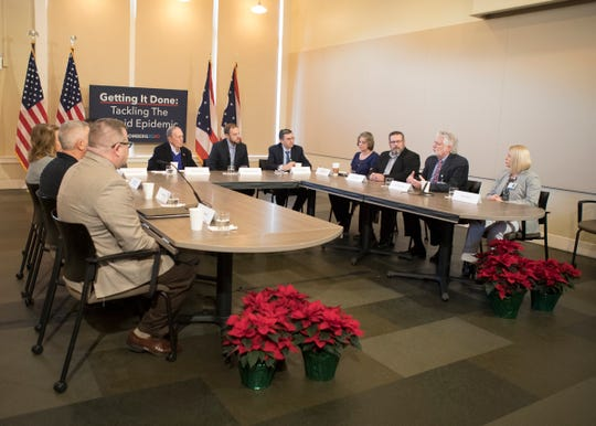 Bloomberg listened to various stories opioid related stories from different members of the Chillicothe community during a roundtable discussion held at the Carlisle building in Downtown Chillicothe, Ohio, on Dec. 20, 2019.