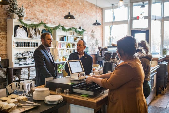 Former New York City mayor and Democratic presidential candidate Michael Bloomberg met with Chillicothe mayor Luke Feeney to talk about Chillicothe and have coffee at Paper City Coffee in downtown Chillicothe on Friday, Dec. 20,2019.