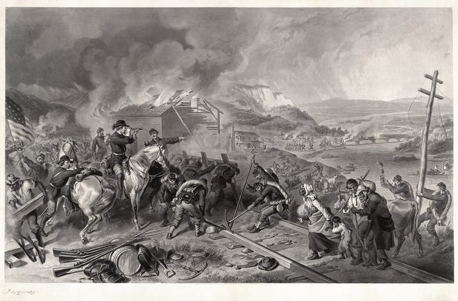 Engraving depicting Sherman's march to the sea