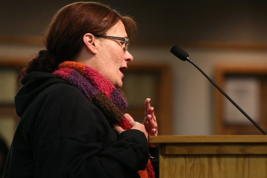 Bridget Hoskins, mother of Jessica Stroup, who struggled with heroin addiction and had been homeless for at least a year, before she was pronounced dead on Nov. 30 at the Hamilton County Justice Center, asks for answers from the Hamilton County commission, Thursday, Dec. 19, 2019, in Cincinnati.