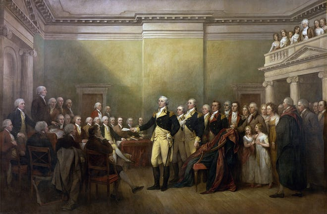 American General George Washington resigning his commission as commander-in-chief of the Continental Army to the Congress of the Confederation at Annapolis, Maryland on December 23, 1783