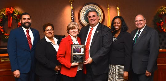 "The Union County Board of Chosen Freeholders thanked Freeholder Chair Bette Jane Kowalski for an outstanding year at the helm of County Government with a plaque in honor of her ""Empowering Union County"" initiatives for 2019."