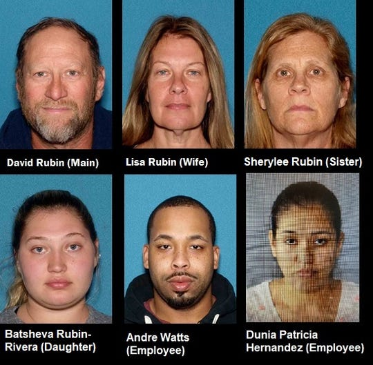 The family members and employees indicted in an alleged Franklin Township retail theft ring. Those charged indicted David Rubin, Lisa Rubin, Sherylee Rubin, Batsheva Rubin-Rivera, Andre Watts and Dunia Patricia Hernandez.