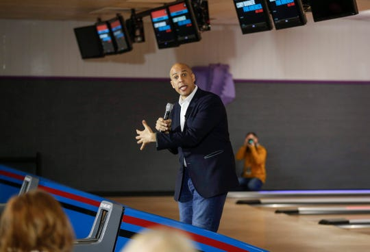 New Jersey Sen. and Democratic presidential hopeful Cory Booker spoke to supporters on Friday, Dec. 20, 2019, at the Adel Family Fun Center in Adel.