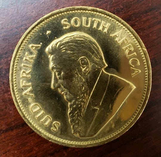 A gold South African Kruggerand that was left in a Salvation Army Red Kettle in St. Clair Shores. The coin was valued at $1,500.