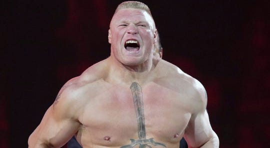 WWE Champion Brock Lesnar faces Drew McIntyre this weekend at WrestleMania 36.