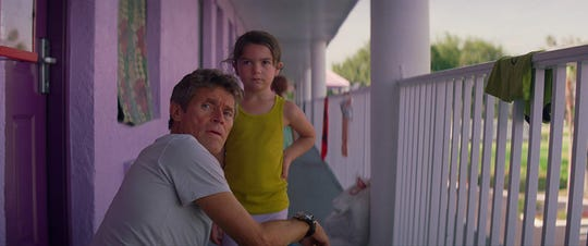 "Willem Dafoe and Brooklynn Prince in ""The Florida Project."""