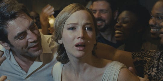 "Javier Bardem and Jennifer Lawrence in ""Mother!"""