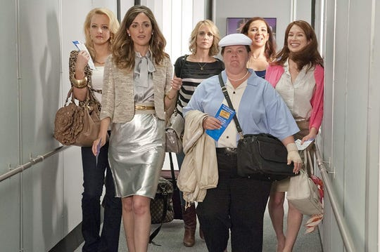 "Wendi McLendon-Covey, Rose Byrne, Kristen Wiig, Melissa McCarthy, Maya Rudolph and Ellie Kemper in ""Bridesmaids."""