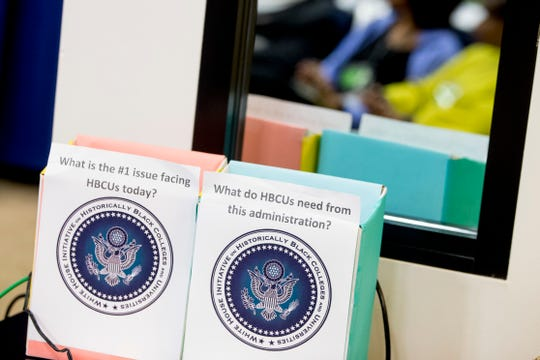 FILE - In this Sept. 18, 2017, file photo, suggestion boxes are set up during the White House Summit on Historically Black Colleges and Universities at the White House complex in Washington.