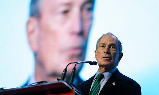 Democratic Presidential candidate Michael Bloomberg speaks at the American Geophysical Union fall meeting Wednesday, Dec. 11, 2019, in San Francisco.