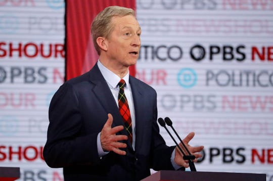 Democratic presidential candidate businessman Tom Steyer speaks during a Democratic presidential primary debate Thursday, Dec. 19, 2019, in Los Angeles.