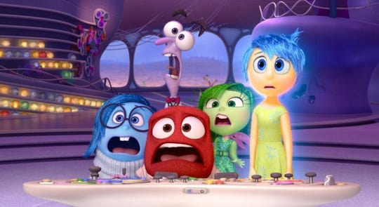 "Phyllis Smith, Lewis Black, Bill Hader, Mindy Kaling and Amy Poehler voice characters in ""Inside Out."""