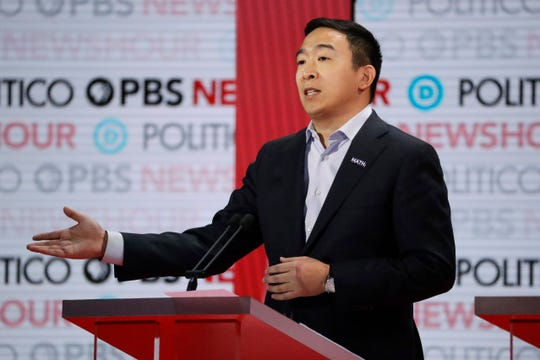 Democratic presidential candidate entrepreneur Andrew Yang speaks during a Democratic presidential primary debate Thursday, Dec. 19, 2019, in Los Angeles.