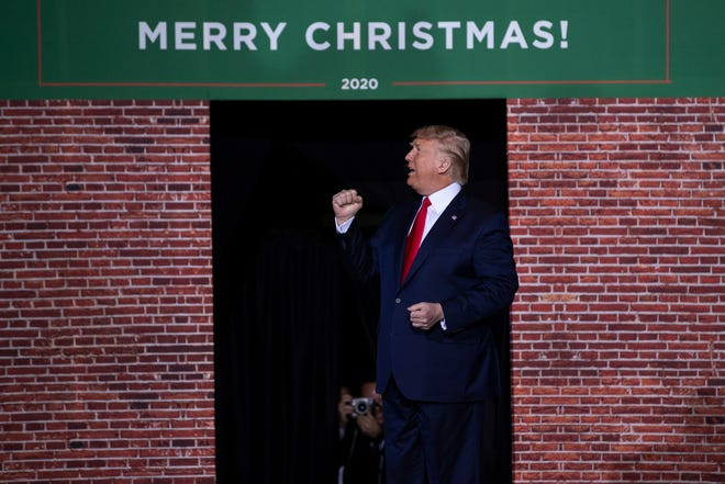 FILE - In this Wednesday, Dec. 18, 2019 file photo, President Donald Trump speaks during a campaign rally at Kellogg Arena, Wednesday, Dec. 18, 2019, in Battle Creek.